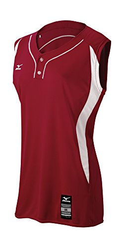 Mizuno Girl's Elite 2-Button Game jersey - Sleeveless, Maroon-White, LARGE (L)