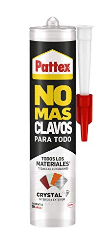 Pattex No Mas nagels voor alle kristallen, montagelijm, bestand tegen extreme temperaturen, sterke lijm op natte oppervlakken, transparante lijm, 1 patroon x 290 g