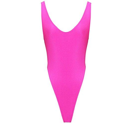 Agoky Femmes Body String Gainant Col V Justaucorps Danse Gymnastique Yoga Bodysuit Gym Vêtements de Sport Monokini Maillot de Bain Une Pièce Extensible Rose Vif Taille Unique