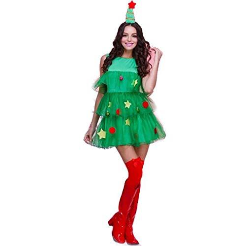 HZH Vestidos de Damas Verdes en árboles de Navidad, Sombreros y Faldas (Busto de 81 a 86 cm, Cintura de 58 a 64...