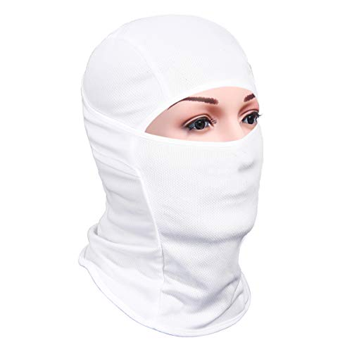 Achiou Balaclava Face Mask UV Protection for Men Women Ski Sun Hood Tactical Masks White