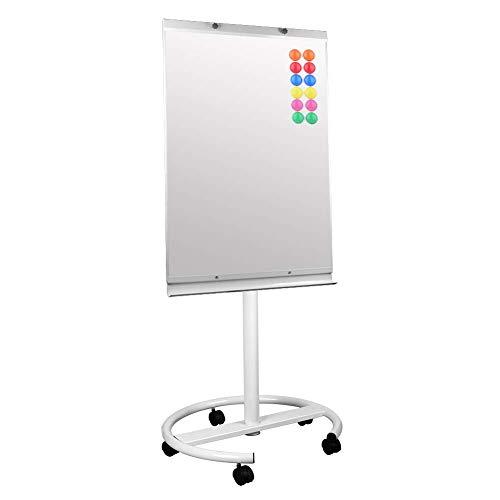 S SIENOC mobile Flipchart Whiteboard Magnetwand mit Alurahmen Magnetisch Whiteboard und Magnettafel Weiß lackiert WhiteBoard + Ständer Einstellbar drehbar (70x100 cm)
