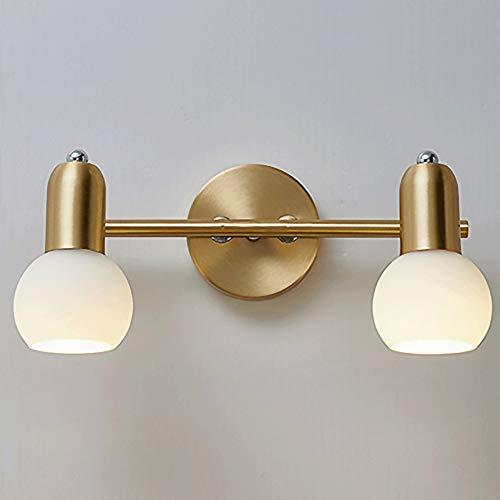 Baska Luces de Espejo LED 2 Cabezas Lámpara de Pared de baño de Estilo nórdico con lámpara de Vidrio, Espejo de baño de baño Luz de gabinete de Espejo para vestidor de tocador, Tomas E14