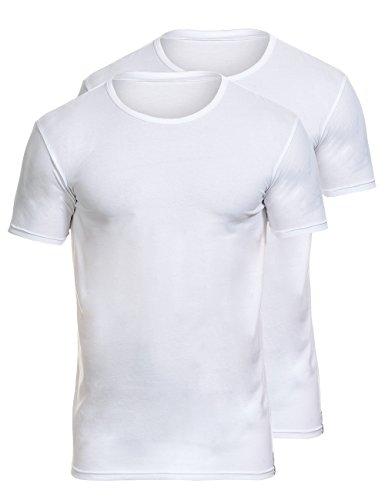 Bruno Banani Herren Shirt 2Pack Cotton Simply Unterhemd, Weiß (weiß 1), Large (Herstellergröße: 6) (2er Pack)