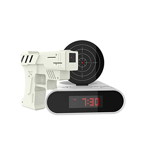 Trademark Games 72-CB340 Toy Gun Alarm Clock Game, 3.875x7.875x7, White/Black