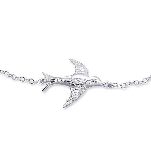 réglable Bird Bracelet à breloques – Argent Sterling 925 – Longueur : 18 cm/17,8 cm – Coffret cadeau inclus – La Rose & Silver Company – Rs0536
