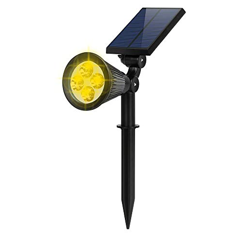 Solar Spot Lights Outdoor, FALOVE 2-in-1 Wall/Ground Light Solar Flag Pole Light Adjustable Landscape Light Security Lighting Auto On/Off for Wall Patio Deck Yard Garden Driveway Pool - 1 Pack Warm