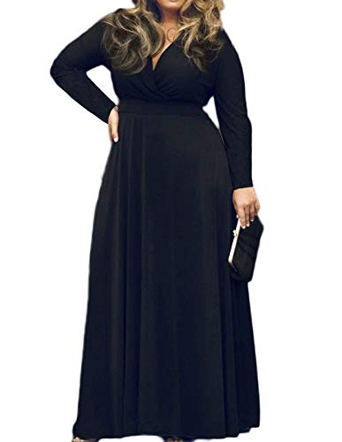 POSESHE Women's Solid V-Neck Long Sleeve Plus Size Evening Party Maxi Dress (2X-Large, Black) (Apparel)
