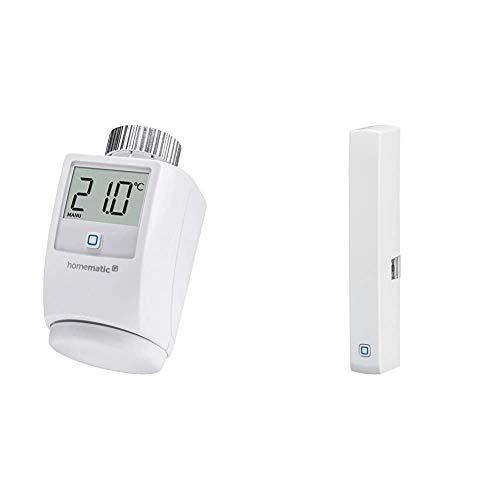 Homematic IP Smart Home Heizkörperthermostat – Standard - Intelligente Heizungssteuerung per App & Smart Home Fenster- und Türkontakt, optisch – Smarte Überwachung der Fenster, 140733A0