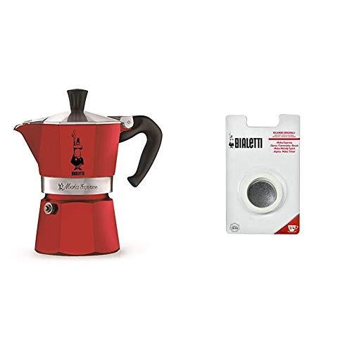 Bialetti 0004942 Cafetière Italienne, Aluminium, Rouge, 3 Tasses & 0800003 Filtre à café pour machine à café ( 1 filtre plat et 3 joints)