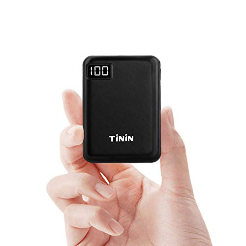 ExternerAkku10000mAh,MiniPower Bank 2-Port Kompakt UltraSlim Klein LeichtPortablesLadegerätfüriPhoneSamung HuaweiSmartphone Tabletusw. -Schwarz