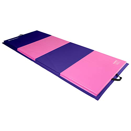 We Sell Mats 4 ft x 10 ft x 2 in Personal Fitness & Exercise Mat, Lightweight and Folds for Carrying, Purple/Pink