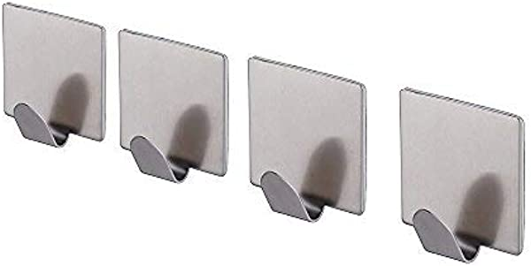 KES Self Adhesive Hooks SUS 304 Stainless Steel With 3M Sticky Strip Stick On Wall Hanger For Bathroom Kitchen Brushed Finish Bath Towel Coat Robe Hook 4 Pieces A7062 2 P4
