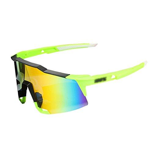 Dexinx Unisex Visions-Single-Layer-Schutz Shatterproof UV Sonnenbrille Fährt Winddichtes Staubdichte im Freien Fahrradsportbrillen Grün Schwarz
