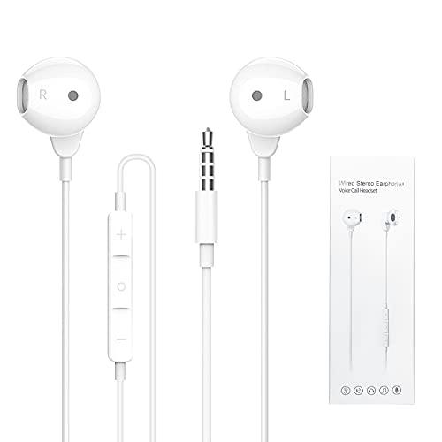 Auricolari In-Ear con Microfono, ZERKAR In-Ear Cuffie con Cavo, Stereo Bass Auricolari da 3,5 mm Earphones Headphones Compatibile per Phone, Pod, Pad, Smartphone, Laptop, MP3