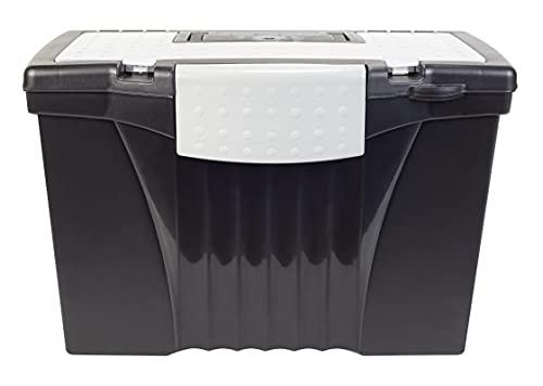 Portable File Storage Box w/Organizer Lid, Letter/Legal, Black, Sold as 1 Each
