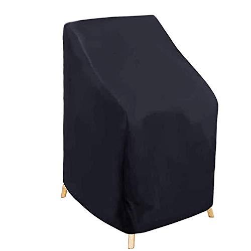 Fablcrew Schutzhülle für Gartenstühle, stapelbar, wasserdicht, UV-Schutz, 210D, Oxford-Gewebe, Schwarz, 120 x 65 x 80 cm