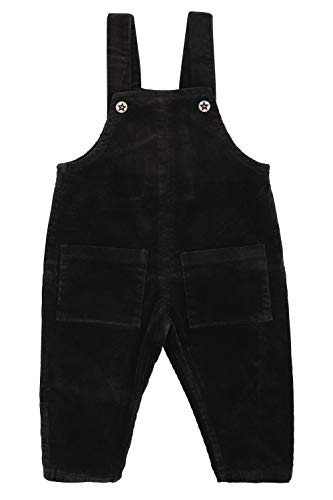 Camilife Kordsamt Latzhose für Baby Kleinkind Kinder Jungen Mädchen Vintage Retro Overall Kord-Latzhose Cordhose mit Hosenträger für 1-4 Jahres alt - Dunkelgrau Größe 110