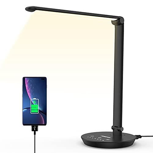 LED Schreibtischlampe Tischleuchte mit 5 Farbstufen 7 Helligkeits Tageslichtlampe, Augenschutz, Touchfeldbedienung, USB-Anschluss für Aufladung des Smartphones, Bürolampe für Studium, Arbeit, Zimmer