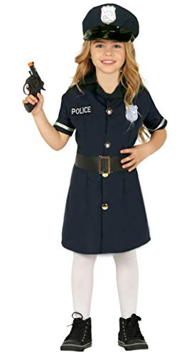Guirca Polizistin Kostüm für Mädchen - Größe 98-146 - Kinder Fasching Karneval Halloween, Größe:140/146