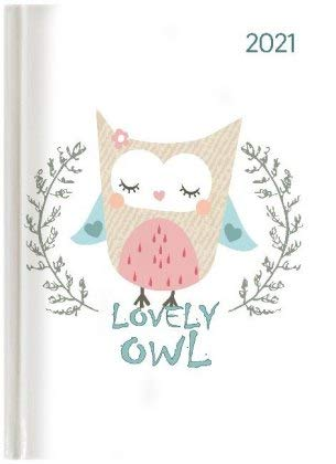 Ladytimer Lovely Owl - Taschenkalender A6 - Kalender 2021 - Alpha Edition-Verlag - Eine Woche auf 2 Seiten - Buchplaner mit Lesebändchen und Platz für Notizen - Format 11 cm x 14,8 cm - Buchkalender