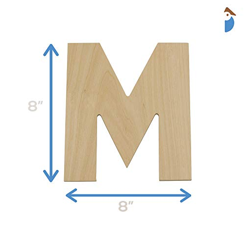 Wooden Letters - M - Unfinished 8 x 8Inch Decorative Craft Monogram for Wedding Parties and Home Décor with Tool Free Adhesive Foam Squares for Hangin   g - by Woodpeckers
