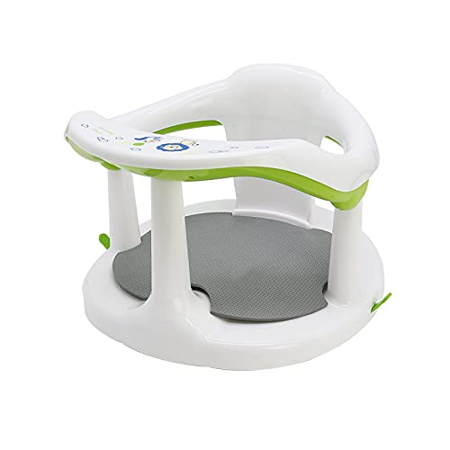 Baby Surround Bath Seat Newborn Soft Sit-Up Bathtub Chair Cute Non-Slip Infants Bathing Backrest Support with Mat & Suction Cups for Stability (3-24...