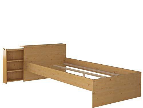 Loft24 A/S Funktionsbett Bett mit ausziehbarem Regal Bettgestell Bettrahmen 90x200 cm Kiefer Massivholz gebeizt geölt (gebeizt geölt)