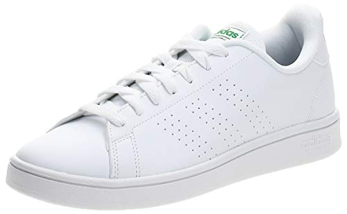 adidas Advantage Base, Scarpe da Tennis Uomo, Ftwr White/Ftwr White/Green, 43 1/3 EU