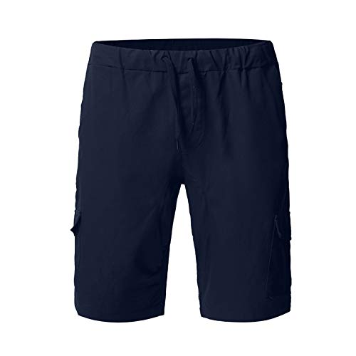 Pamilk Pantalones cortos cargo para hombre, para exteriores, ligeros, holgados, informales, con tirantes finos, informales marine XL