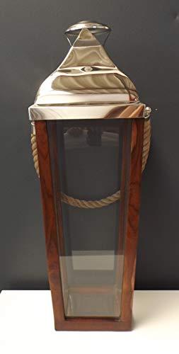 GILDE Laterne Rama 65074 konisch Holz Edelstahl Henkel Sisal-Seil Deko-Idee Geschenk Jubiläum Schaufenster-Dekoration Decoration Lantern Decor