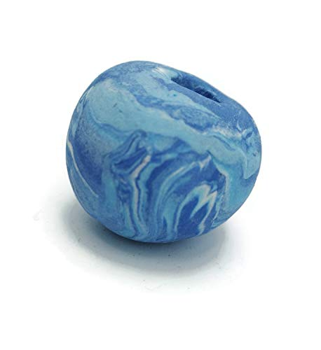 30mm Matte Blue Beads with Extra Large 7mm Hole, Handmade Ceramic Artisan Findings, Oversize Ball for macrame