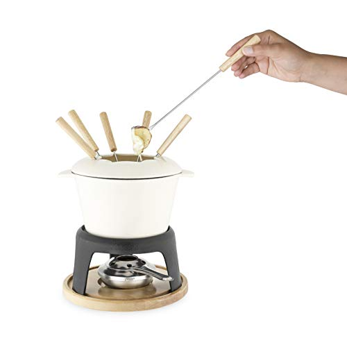 Twine 5998 Farmhouse Kitchen Enamel Cast Iron Fondue Set Cheese Melting Pot, Metal Stand with Stainless Steel Forks and Chrome Gel Burner, 8.5