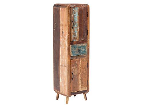 Woodkings® Bad Hochschrank Kalkutta recyceltes Holz bunt rustikal Badhochschrank massiv Badmöbel Massivholz Badezimmer Badezimmerhochschrank Wandschrank (mit Fuß)