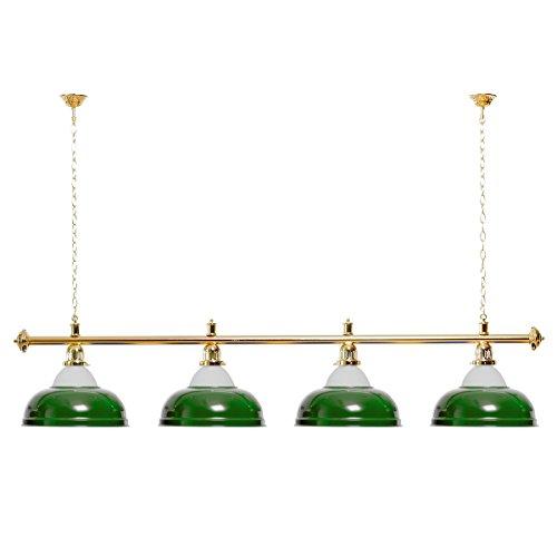 Billardlampe 4 Schirme grün mit Glas/Goldfarbene Halterung