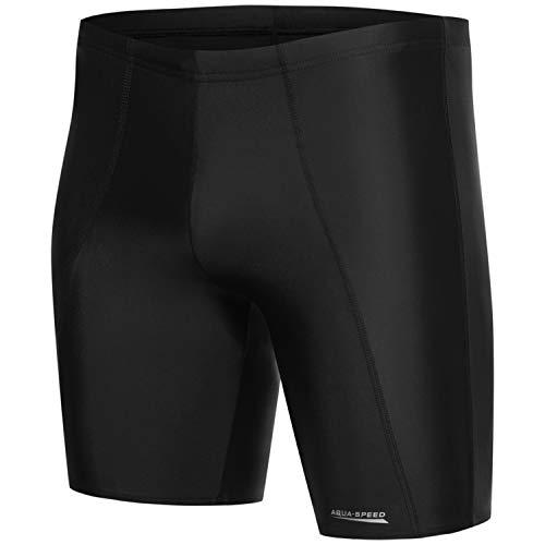 Aqua Speed Schwimmhose lang eng Männer + gratis eBook | Wettkampf Badehose Trunk Herren | Schwarze Coole UV Badebekleidung | Long, Gr. M, Black