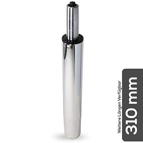 Gasfeder für Bürostuhl Länge 310mm Chrom bis 200 kg Belastbarkeit, verschiedene Längen, Gasdruckfeder für Hocker und Drehstuhl, TÜV, GS und LGA Geprüft