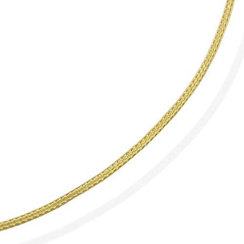 aion Halsreif Gold 585 Massiv Gelbold 14 Karat Damen Kette-Strumpfkette 40-42-45-50 cm 1,7 mm Collier (40)