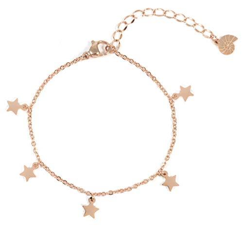 Happiness Boutique Damen Stern Armband in Rosegold | Zarte Armkette mit Stern Anhängern Edelstahlschmuck
