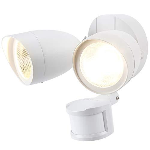 LEONLITE Motion Sensor Flood Light, UL & Energy Star Listed, LED Security Lights Dusk to Dawn, Outdoor Floodlighting Fixture, Adjustable Dual Heads, 1400lm, IP65 Waterproof, 3000K Warm White, White