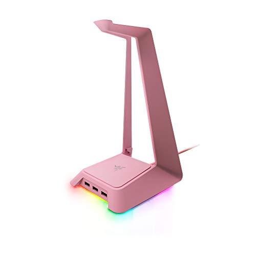 Razer Base Station Chroma Headphone/Headset Stand w/ USB Hub: Chroma RGB Lighting - 3x USB 3.0 Ports - Non-Slip Rubber Base - Designed for Gaming Headsets - Quartz Pink