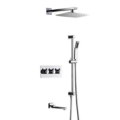 Great Price! KONGZIR Bath Shower System, Bathroom Shower Mixer Set Concealed Shower Three-Function H...