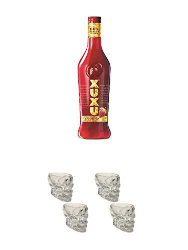 Xuxu Erdbeer Limes mit Vodka 0,7 ltr. + Wodka Totenkopf Shotglas 2 Stück + Wodka Totenkopf Shotglas 2 Stück