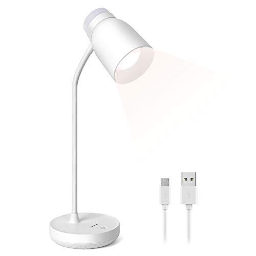 Lámpara Escritorio LED, KEEHOM Flexo Mesa USB Recargable 2400 mAh, 3 Niveles de Brillo Luz Blanca Cálida, Cuello Flexible Ajustable, Control Táctil, Luz Lectura Protección Ocular, Diseño Luz Nocturna