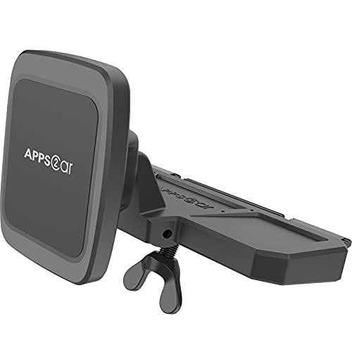 Soporte Magnetico Movil Coche , APPS2Car Soporte Para Teléfono con Ranura Para CD, Soporte Movil Coche Magnético, Compatible Universalmente con iPhone11/11Pro/Xs MAX/XR/XS/X, Galaxy S10/S10+/S9 y más