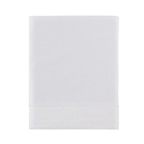 Essix - Drap Plat Royal Line Percale de Coton Blanc 180 x 290 cm