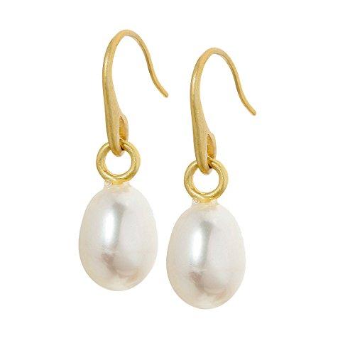 Sence Copenhagen Damen Ohrhänger Gold aus der Essential Earring-Serie mit einer echten weißen Perle Messing vergoldet - A368