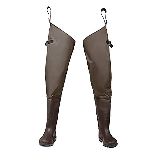 FISHINGSIR Hip Waders Waterproof Hip Boots for Men and Women with Boots Lightweight Bootfoot Cleated 2-Ply Nylon/PVC Fishing Hip Wader Brown & Green