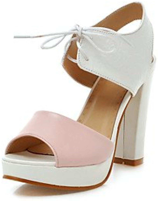 Women 039 s Sandals Basic Pump Leatherette Summer Wedding Office & Career Party & Evening Dress Basic Pump Lace-up blueshing Pink bluee Purpleblueshing PinkUS9 EU40 UK7 CN41
