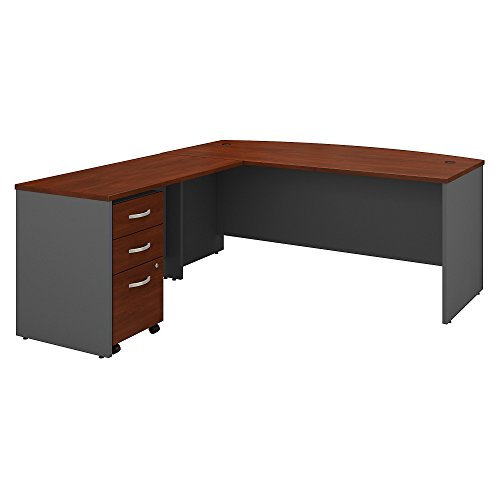 Bush Business Furniture Series C 72W Bow Front L Shaped Desk with 48W Return and Mobile File Cabinet in Hansen Cherry Kentucky